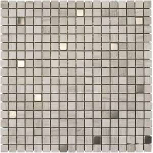 Mosaique Wood stone white Metal