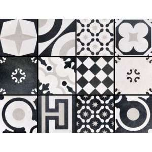 Carrelage Cementine black & white Mix