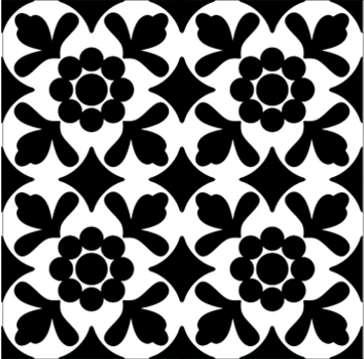 Carrelage Tagina Deco Dantan Fleur Noir Blanc X Vente En - Carrelage d'antan